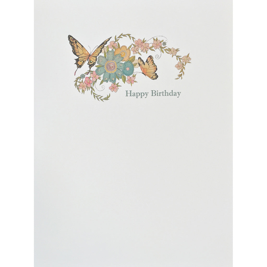 Greeting Card Butterflies Flowers Birthday - Lumia Designs