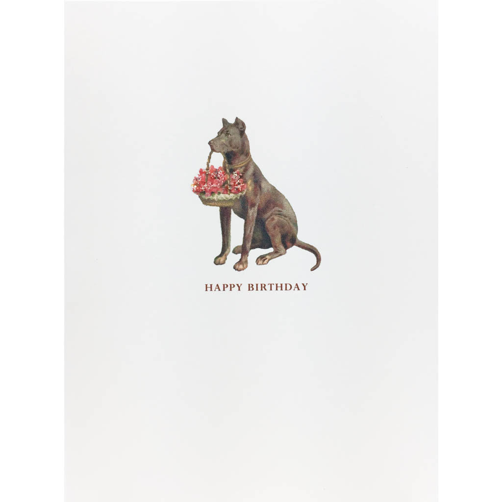 Dog Flower Basket Birthday Card