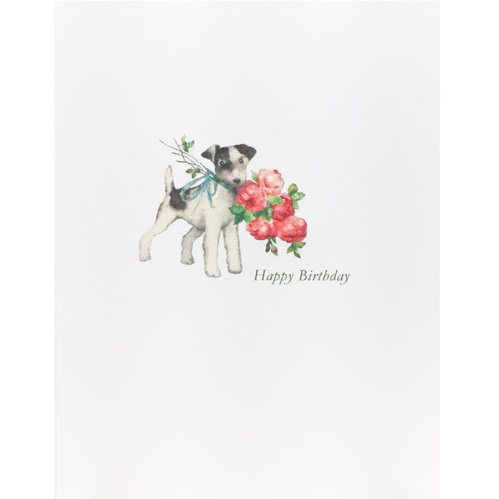 Doggie Roses Birthday Card