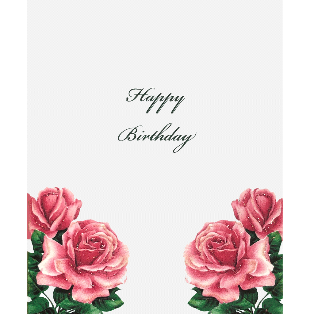 Birthday Card with big, beautiful, pink roses, hand glittered, made in USA