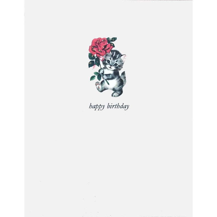 Kitty with Rose Birthday Card - Lumia Designs