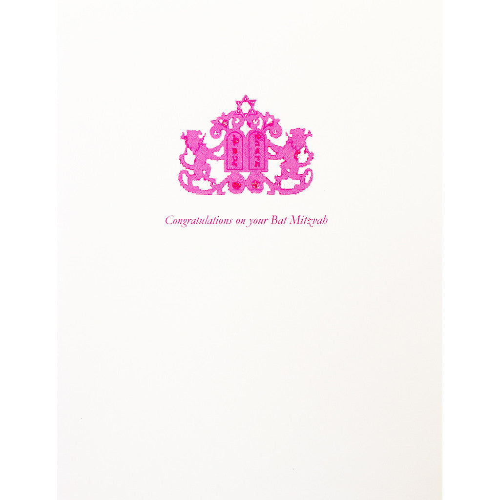 Greeting Card Lions Pink Bat Mitzvah - Lumia Designs