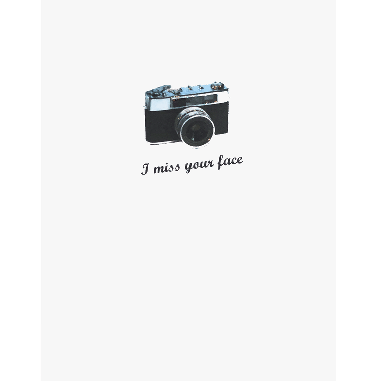 Greeting Card with vintage style camera, I Miss Your Face, hand glittered. Made in USA -Lumia Designs