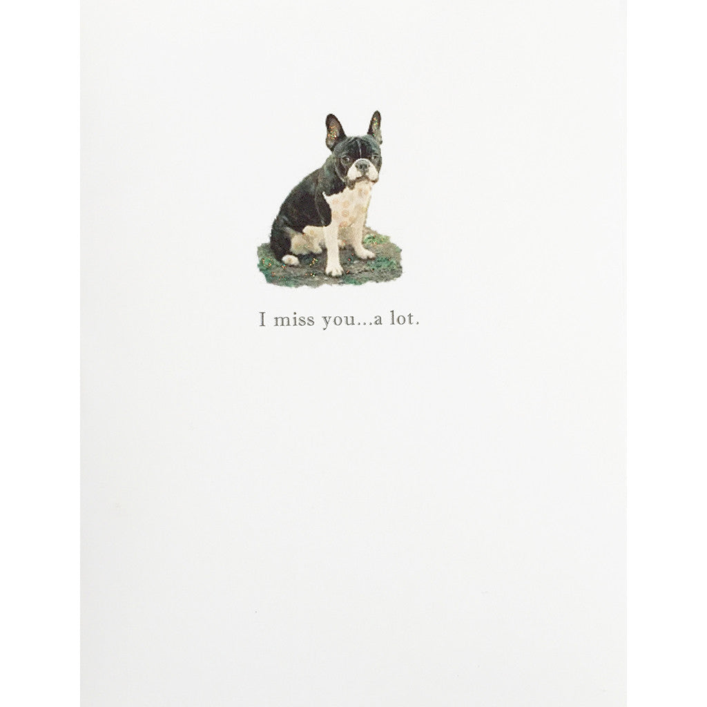 Greeting Card Miss You Bull Dog - Lumia Designs