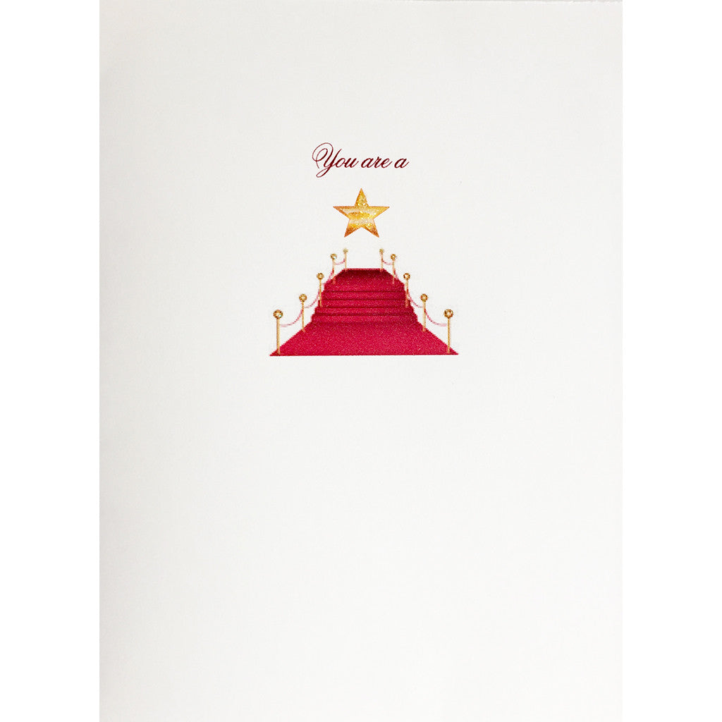 "Greeting Card  Red Carpet with saying ""You're a Star"" - hand glittered, made in USA -Lumia Designs"