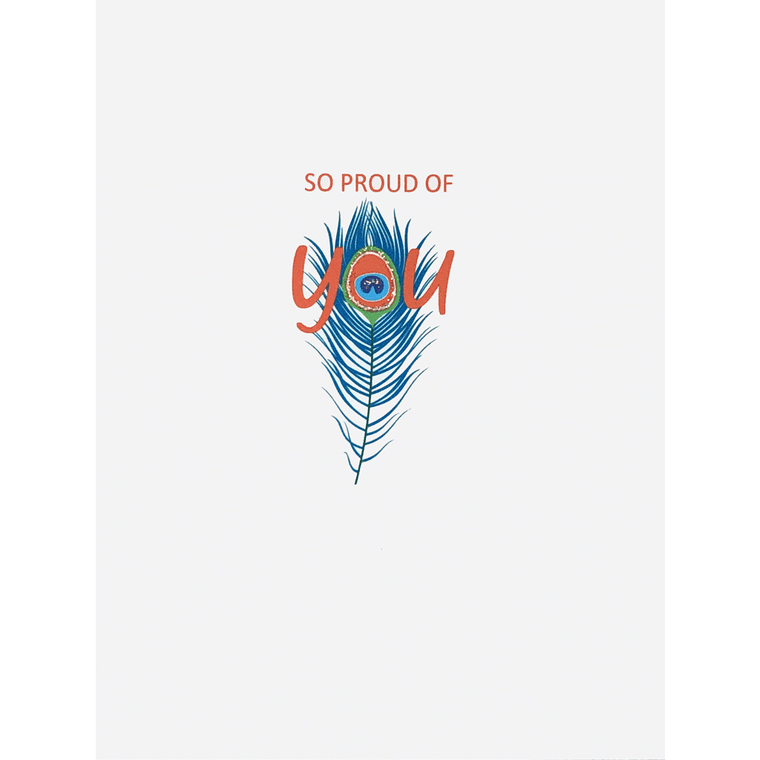 So Proud of You Peacock Feather Card