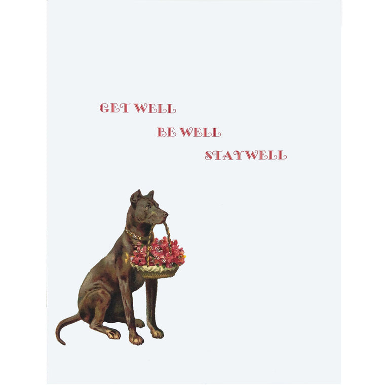 Dog Flowers Get Well Card