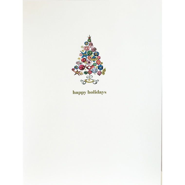 Holiday Card with Retro Christmas Tree, hand embellished with fine glitter, made in USA. Lumia Designs