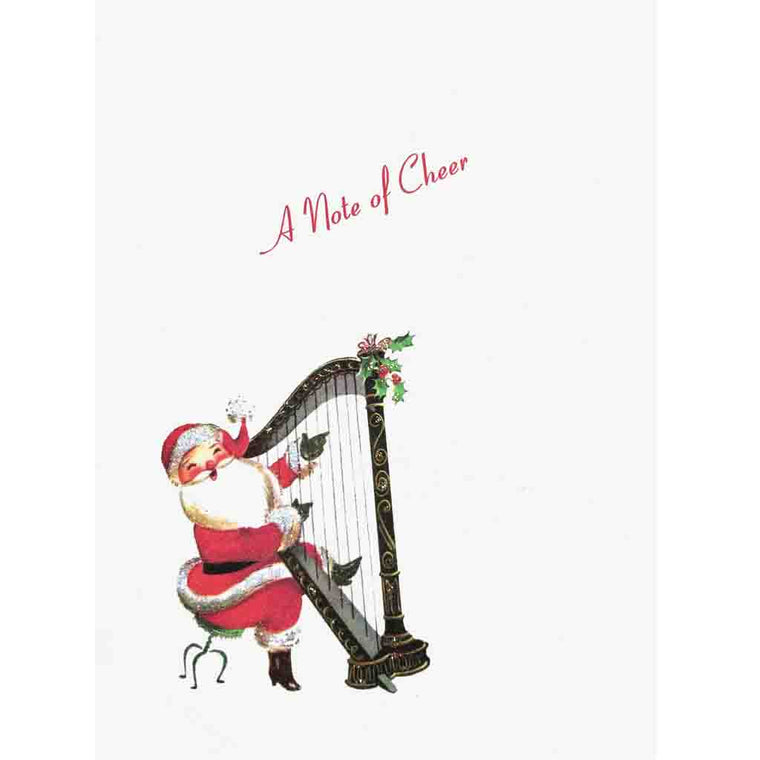 Cute Santa playing harp, card with the greeting, A Note of Cheer - hand glittered, made in USA - Lumia Designs