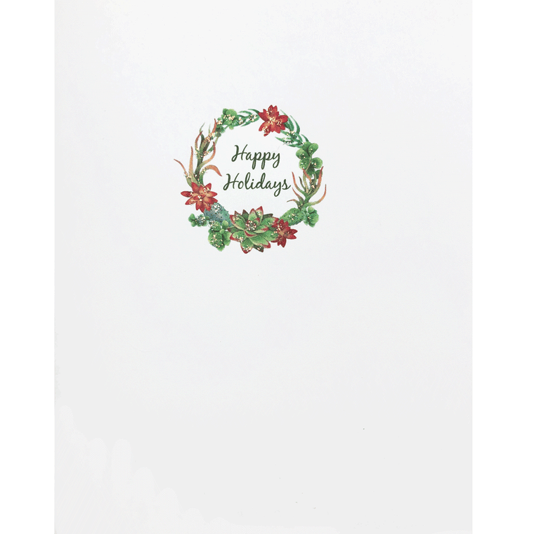 Holiday Card with a wreath made of succulents, hand glittered, made in USA - Lumia Designs