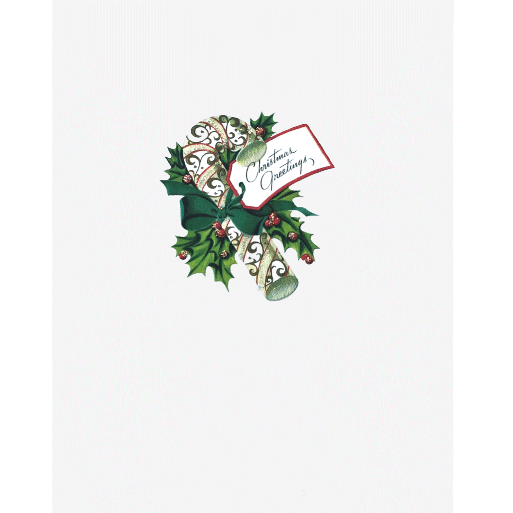 Candy Cane Holly Christmas Card
