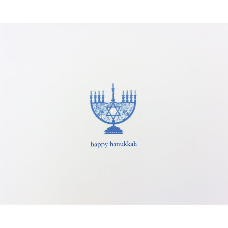 Menorah Blue Boxed Note