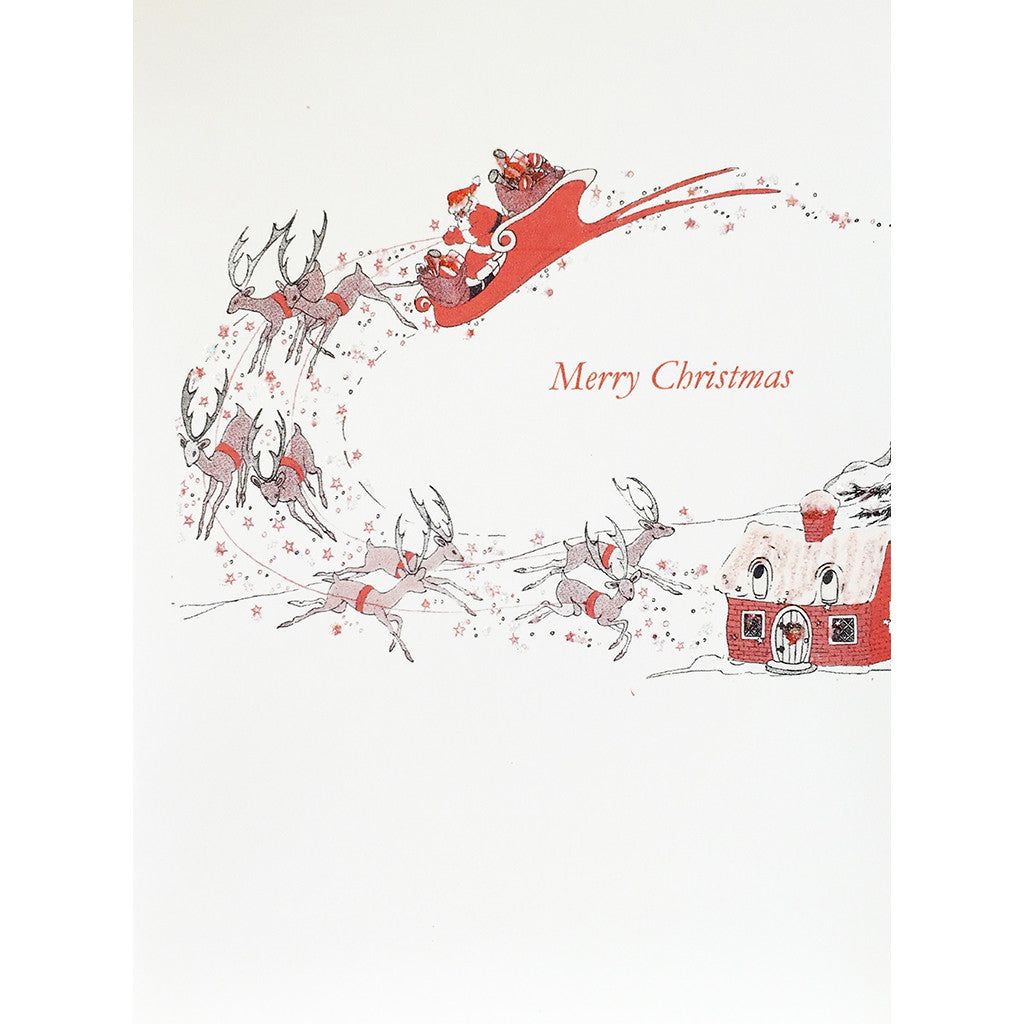 Christmas Card with vintage style Santa on Sleigh with reindeer riding through the sky, hand glittered, made in USA- Lumia Designs