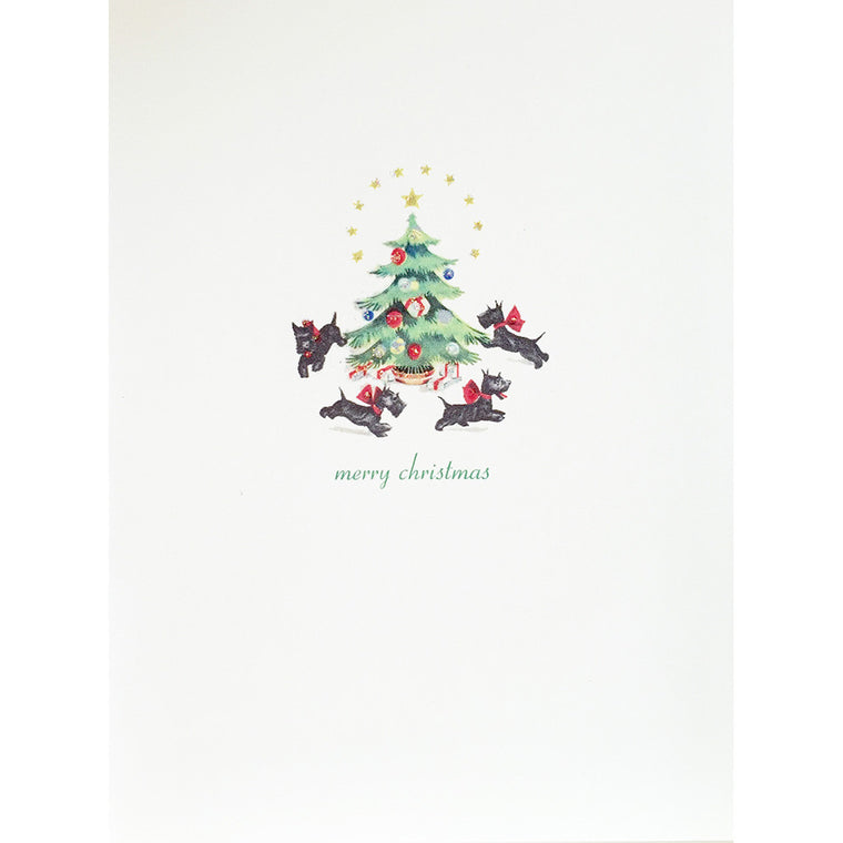 Greeting Card Scotties Xmas Tree - Lumia Designs