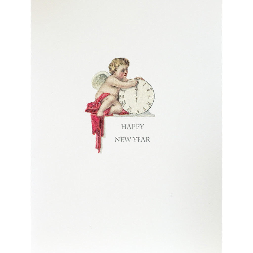 Greeting Card Cherub Clock New Year - Lumia Designs