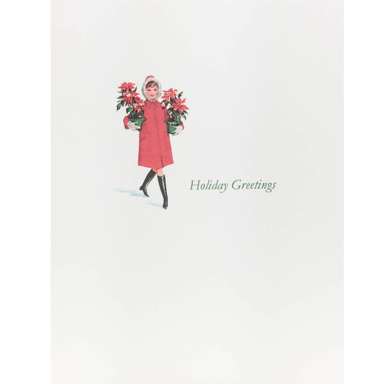 Girl with Poinsettias Holiday Card