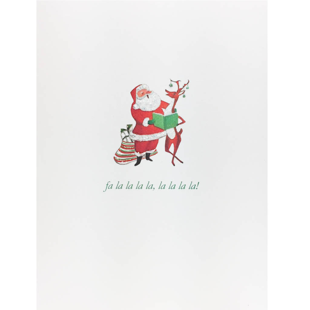 Holiday Card with Retro Santa and Reindeer singing from songbook. Hand glittered, made in USA.