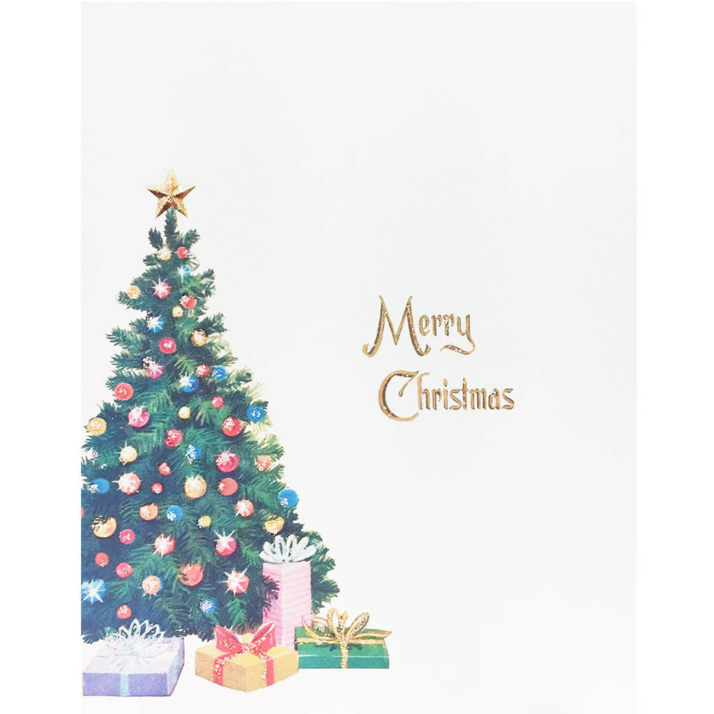 Christmas Tree with colorful presents card, greeted Merry Christmas, hand glittered,made in USA - Lumia Designs