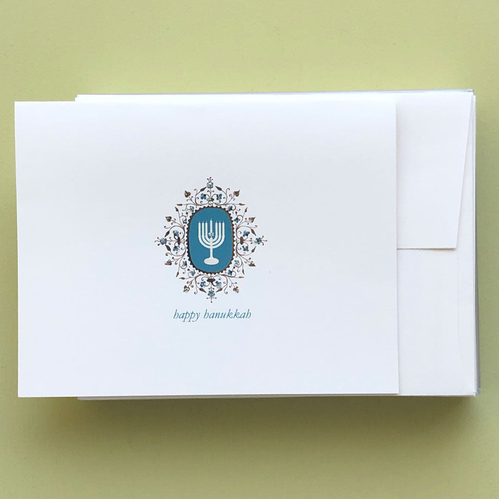 Menorah Filigree Boxed Hanukkah Card