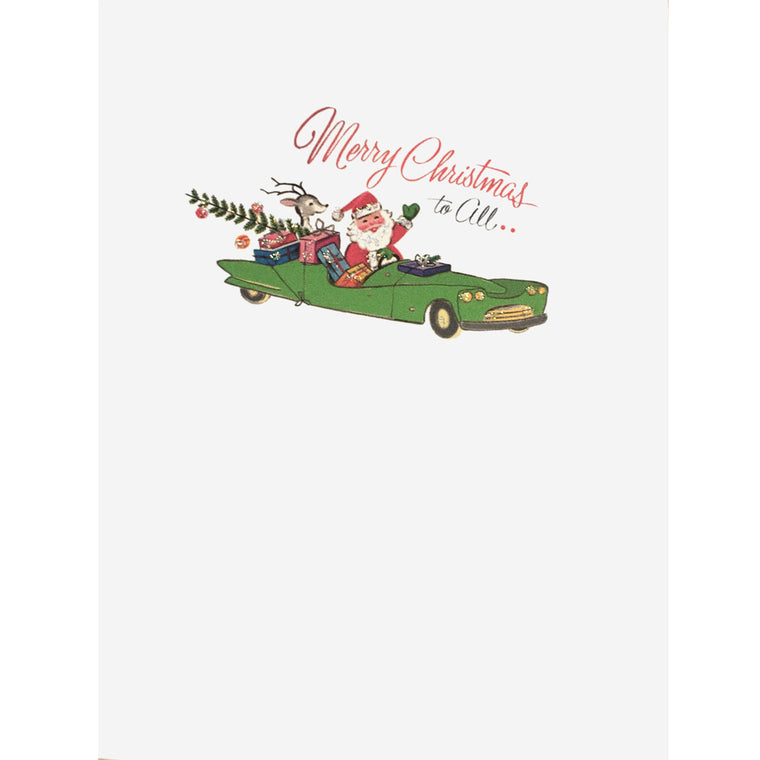 50's Style Santa riding in convertible car with deer and colorful gifts. Hand glittered, made in USA