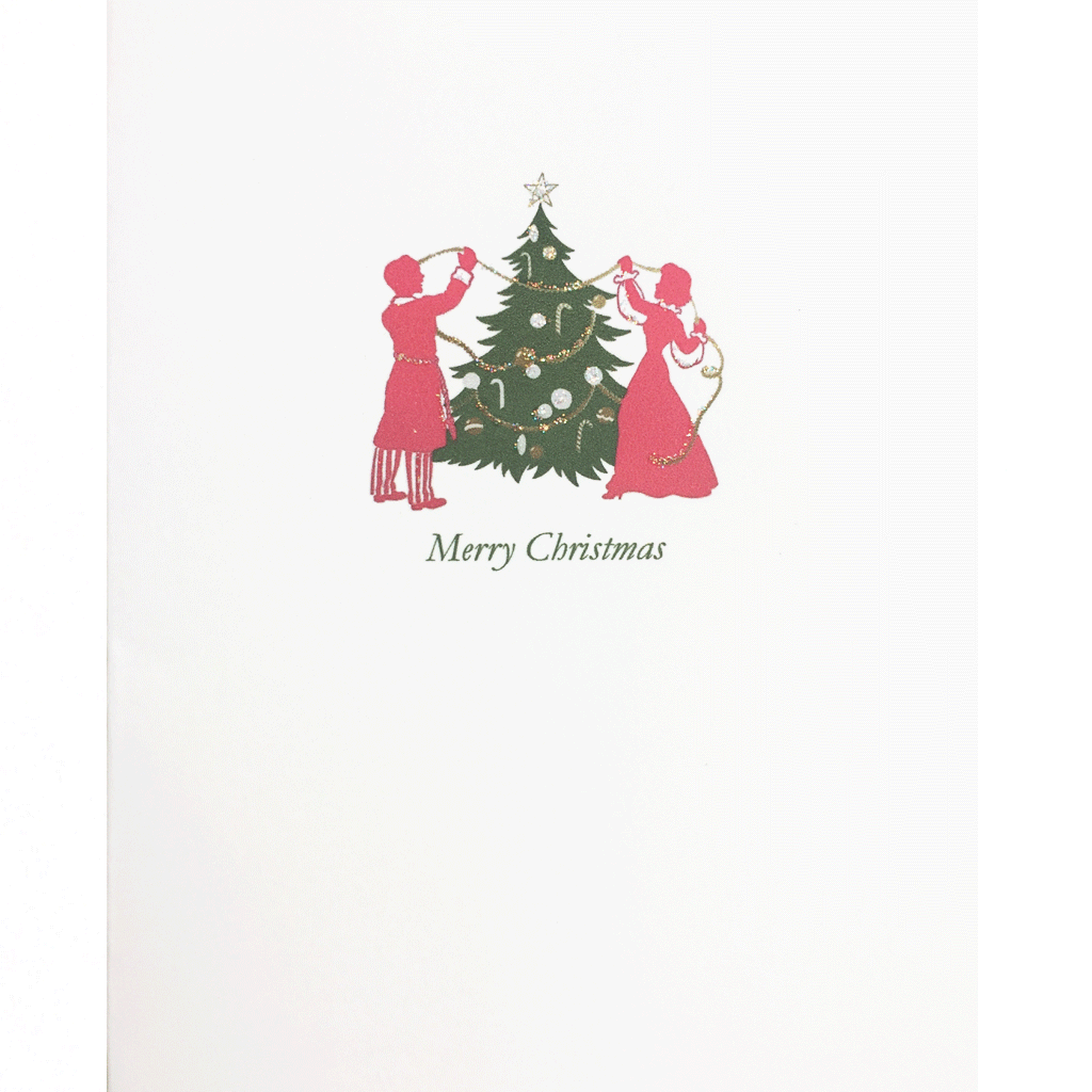 Christmas Card with Vintage Couple in Pajamas decorating tree. Hand glittered, made in USA - Lumia Designs