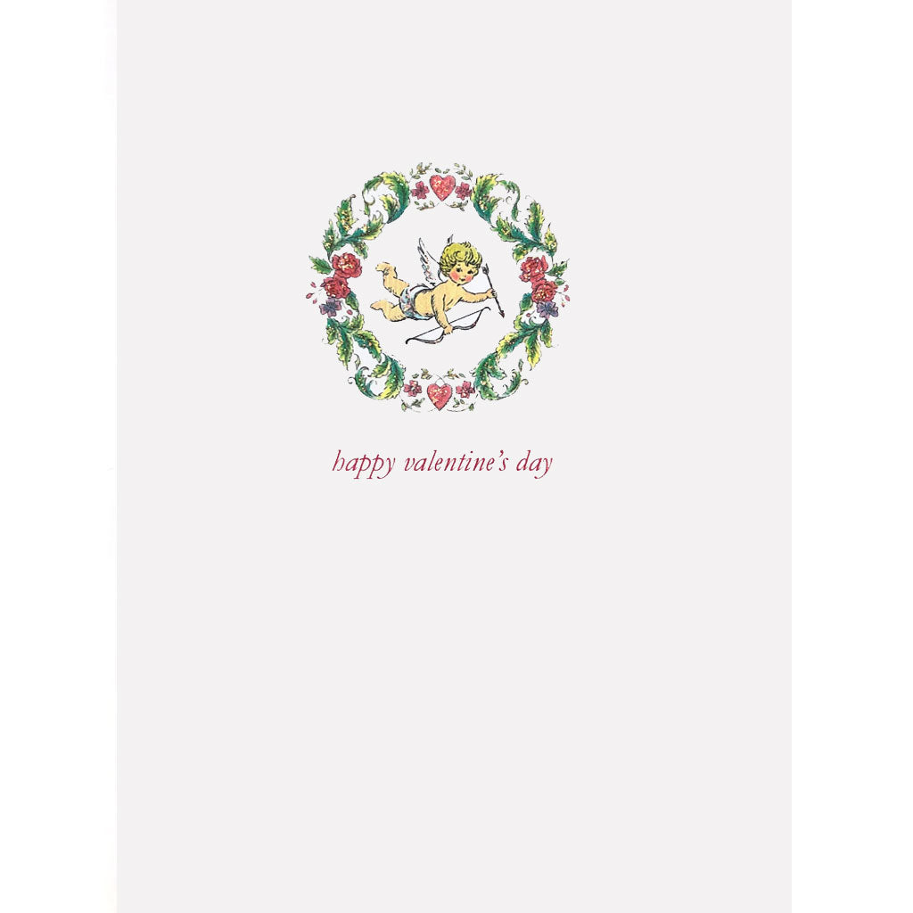 Cupid in Wreath with Hearts Card