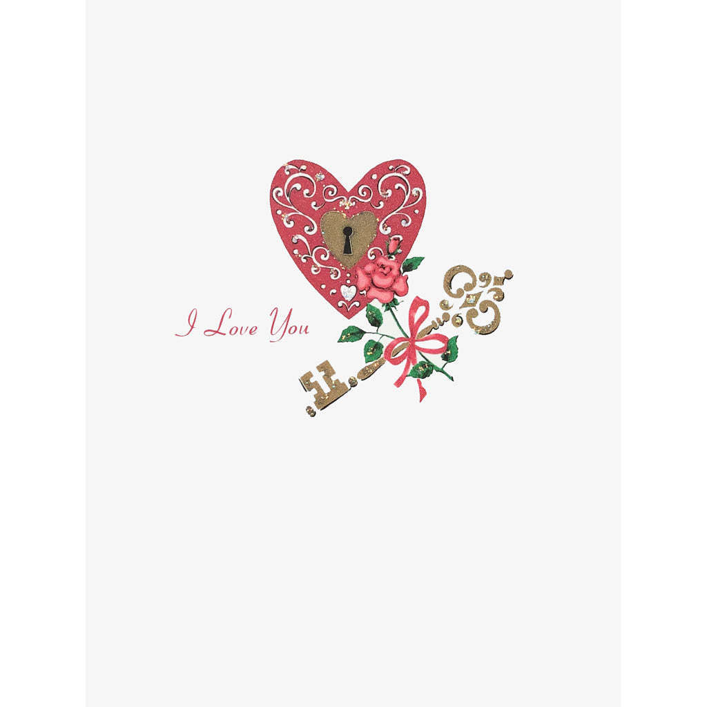 Heart and Key Valentine's Day Card