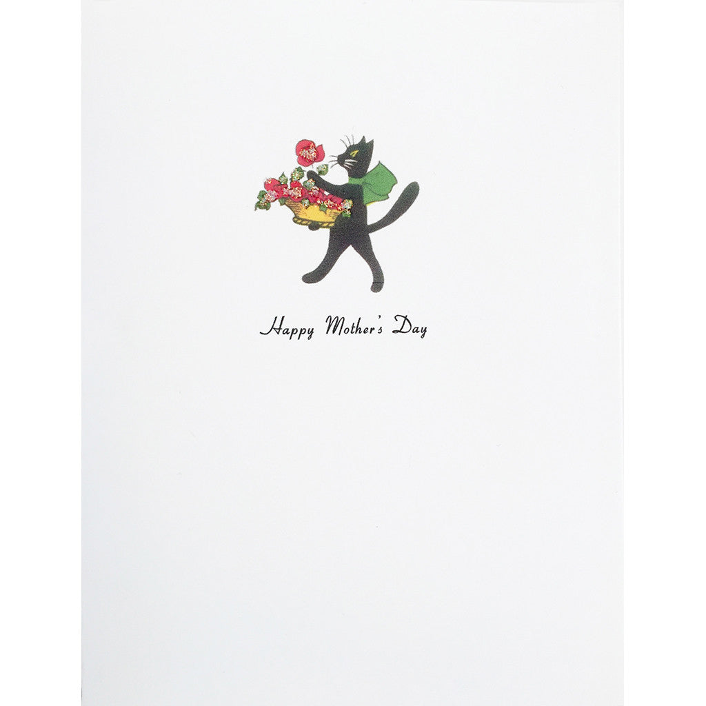 Greeting Card Cat Roses Mother's Day - Lumia Designs
