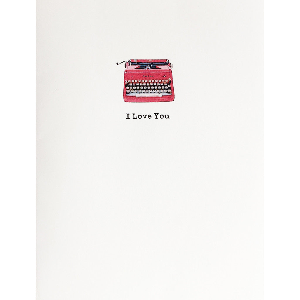 Greeting Card Red Typewriter Love - Lumia Designs