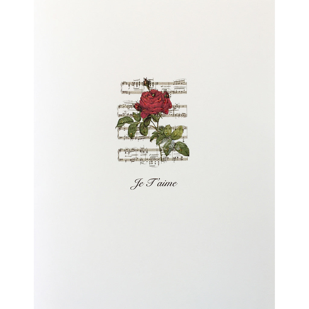 Greeting Card Rose Music Je Taime - Lumia Designs