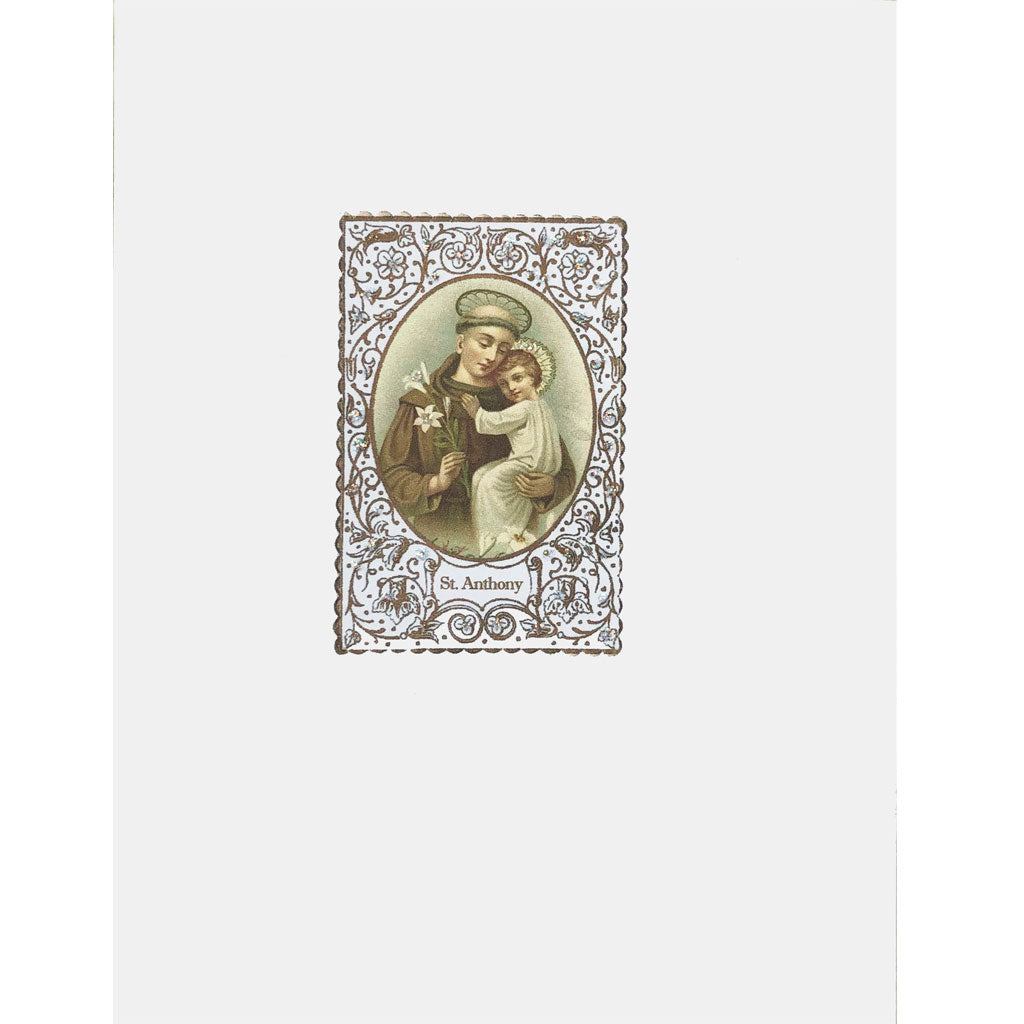 Saint Anthony Card with Prayer embellished with fine glitter. Lumia Designs