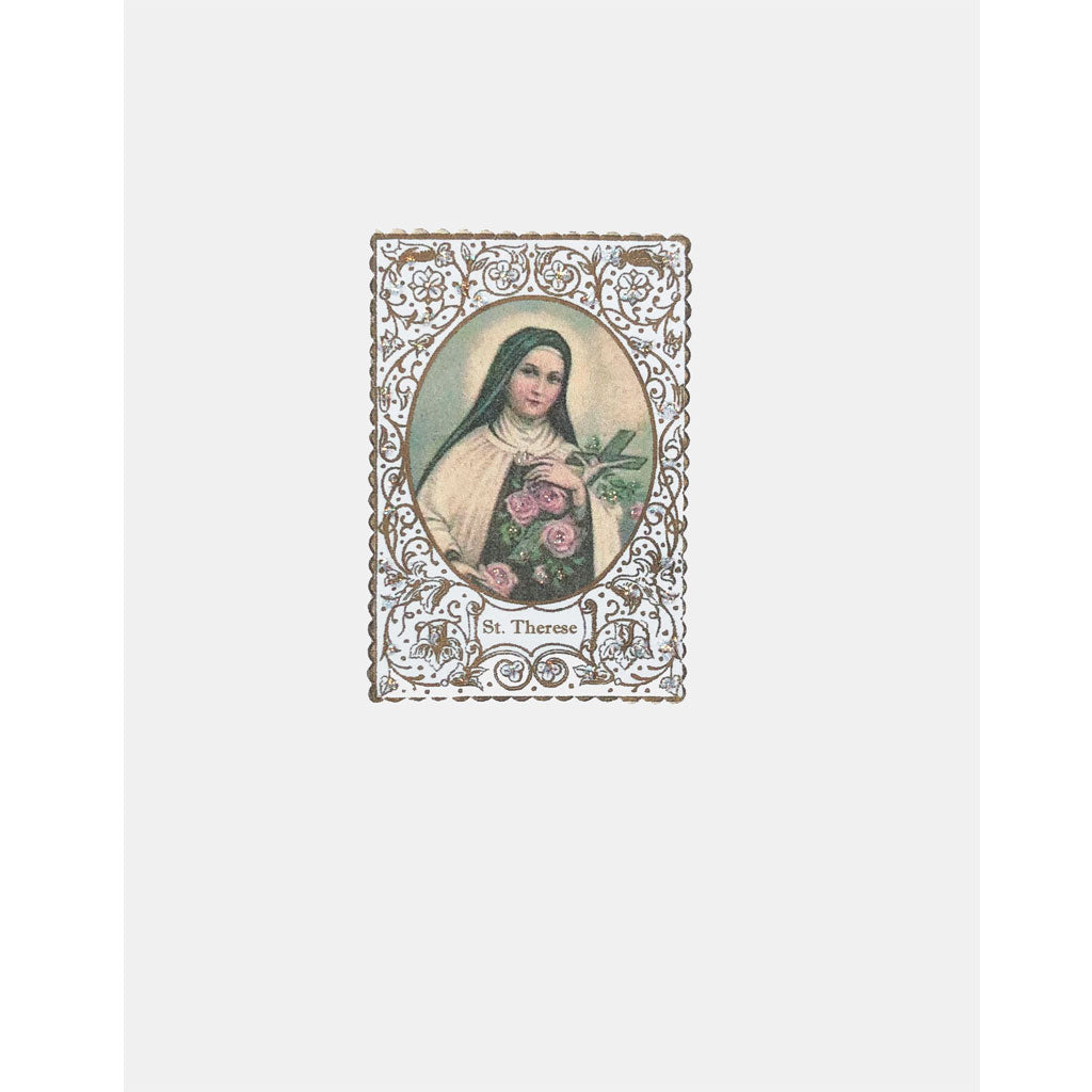 Saint Therese Card with Prayer embellished with fine glitter. Lumia Designs