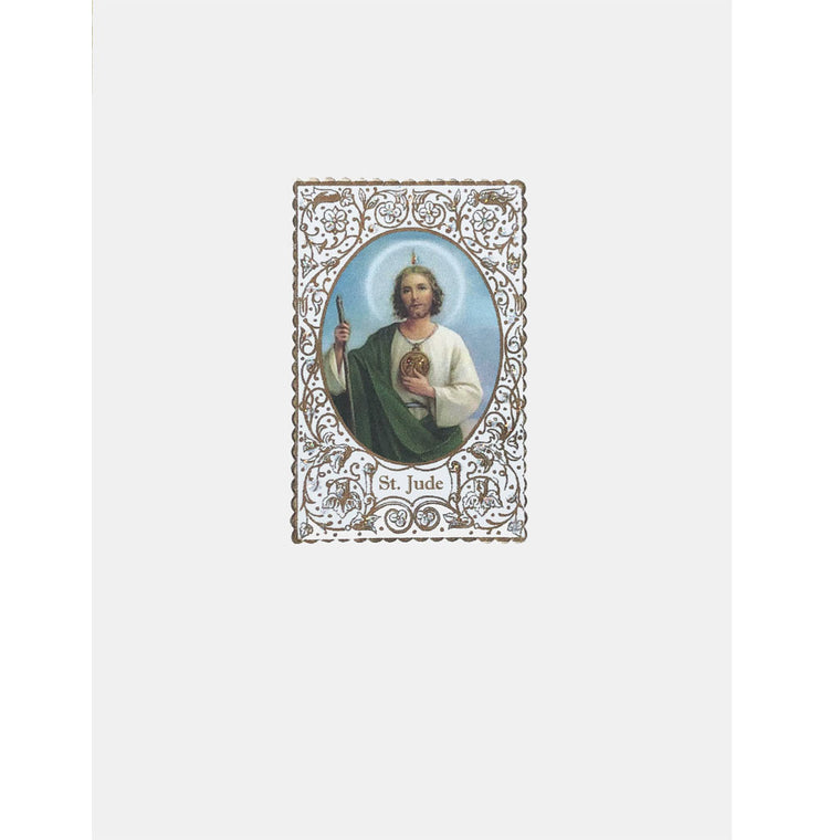 Saint Jude Card with Prayer embellished with fine glitter. Lumia Designs