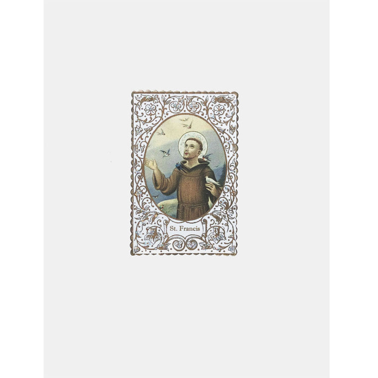 Saint Francis Card with Prayer embellished with fine glitter. Lumia Designs