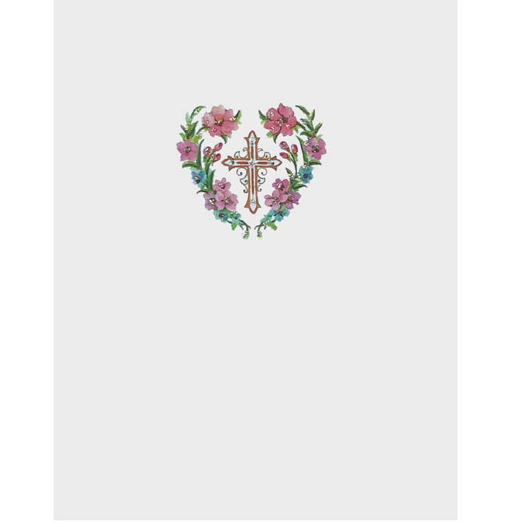Cross in Flower Heart Card