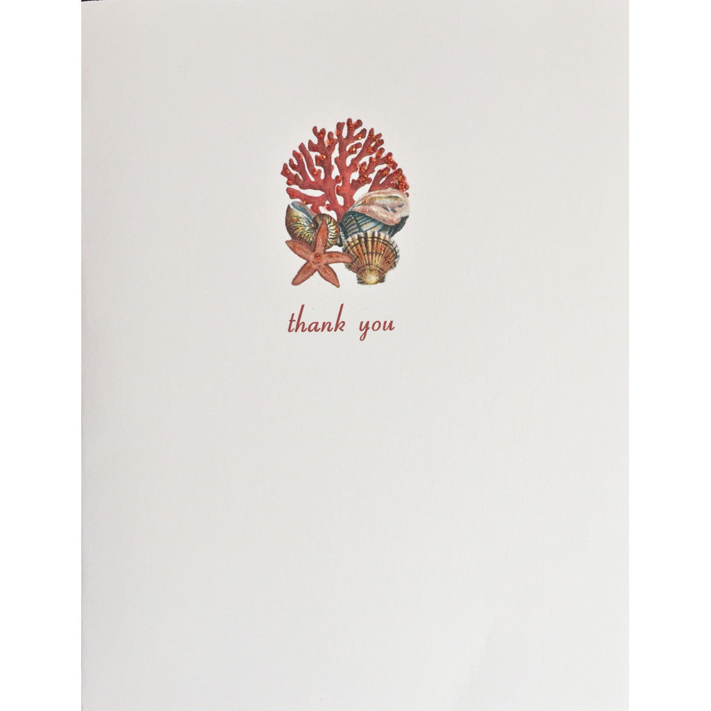 Greeting Card Coral & Shells Thank You - Lumia Designs