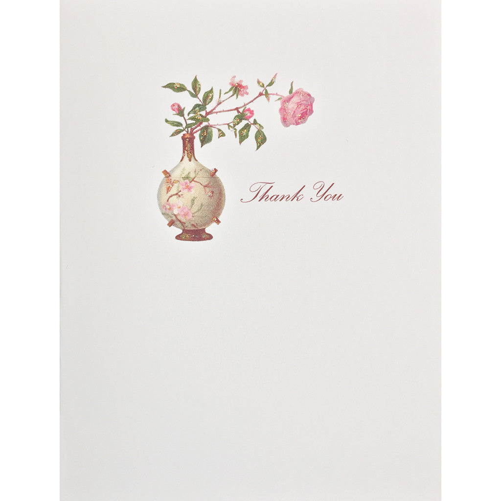 Greeting Card Rose Vase Thank You - Lumia Designs