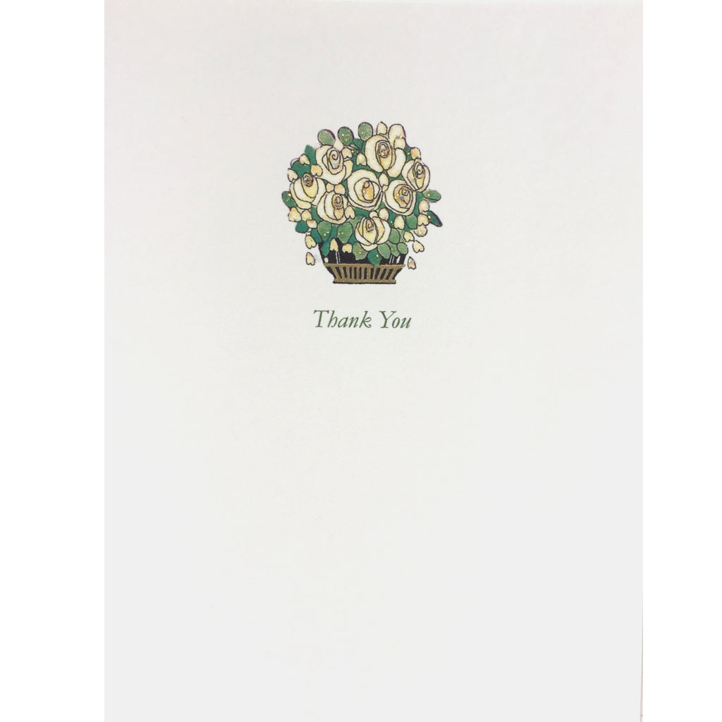Deco White Roses Thank-You-Card