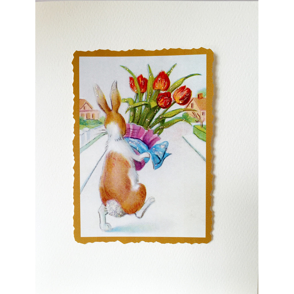Greeting Card Bunny Tulips - Lumia Designs