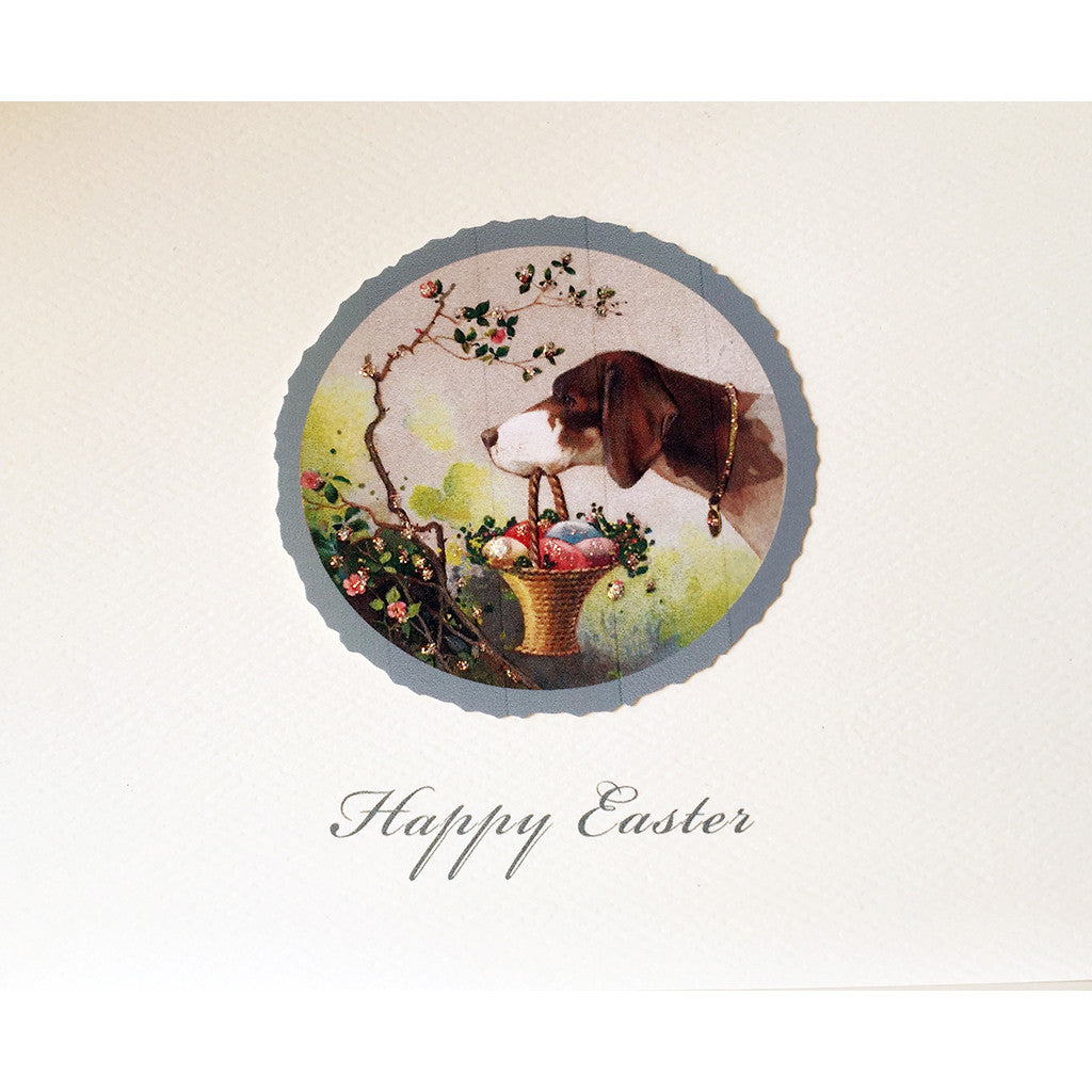 Greeting Card Dog Easter Basket - Lumia Designs