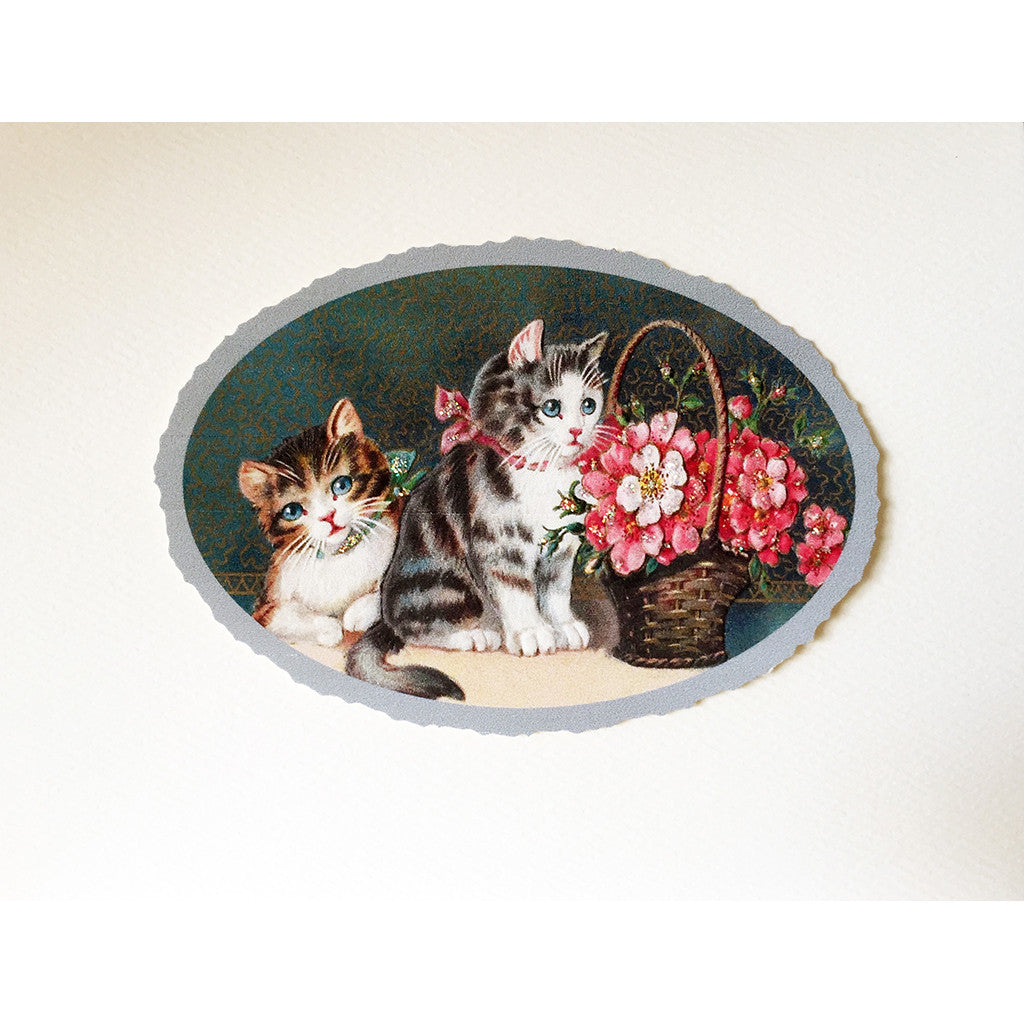 Greeting Card Kitties Flower Basket - Lumia Designs