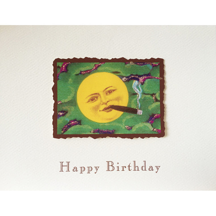 Greeting Card Cigar Moon Birthday - Lumia Designs