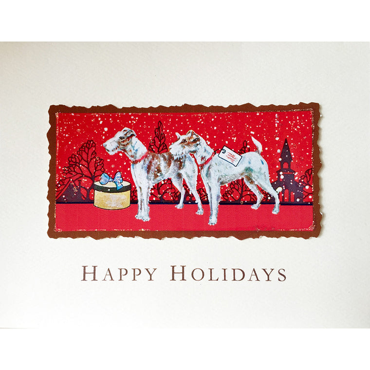 Greeting Card Holiday Terriers - Lumia Designs