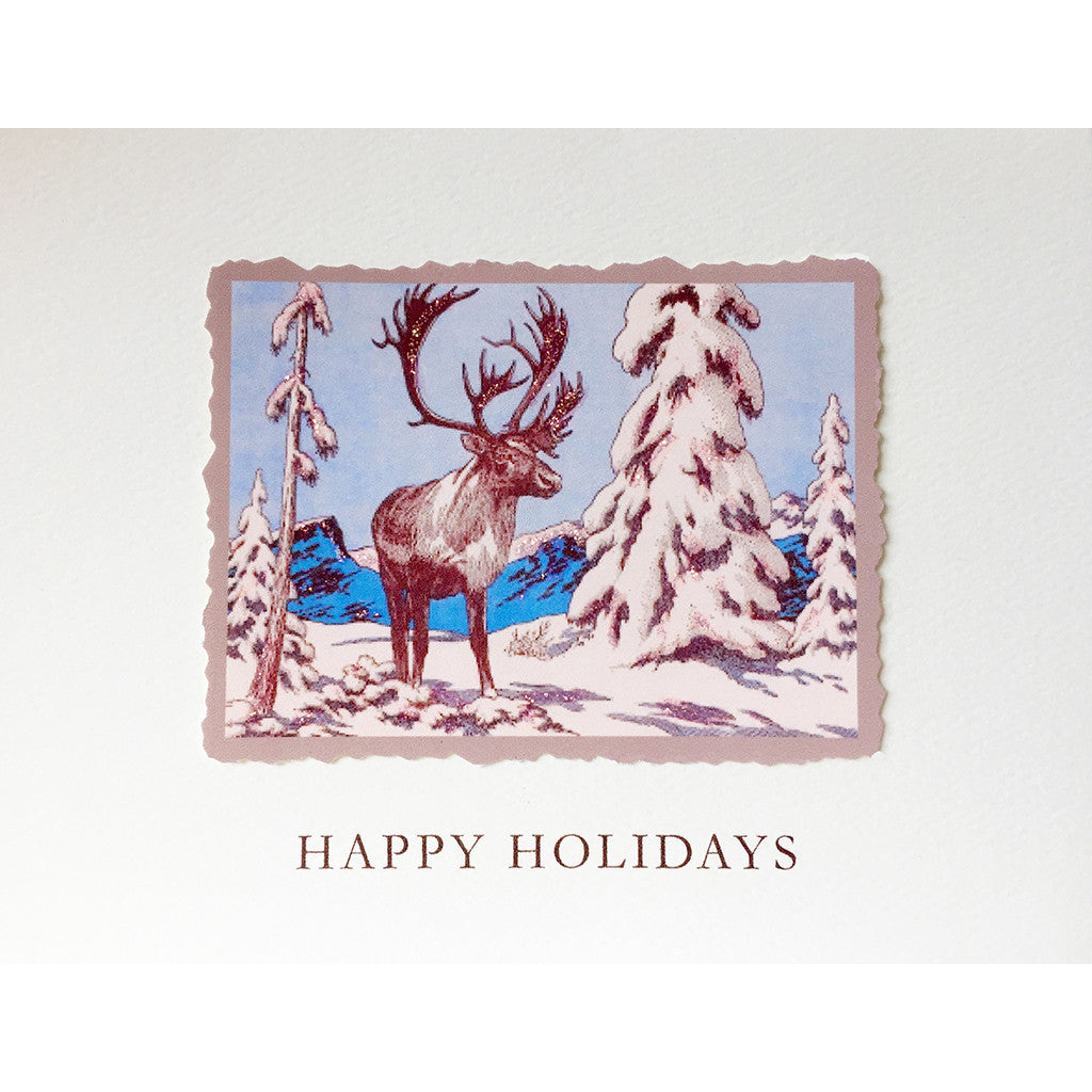 Greeting Card Caribou Holiday - Lumia Designs