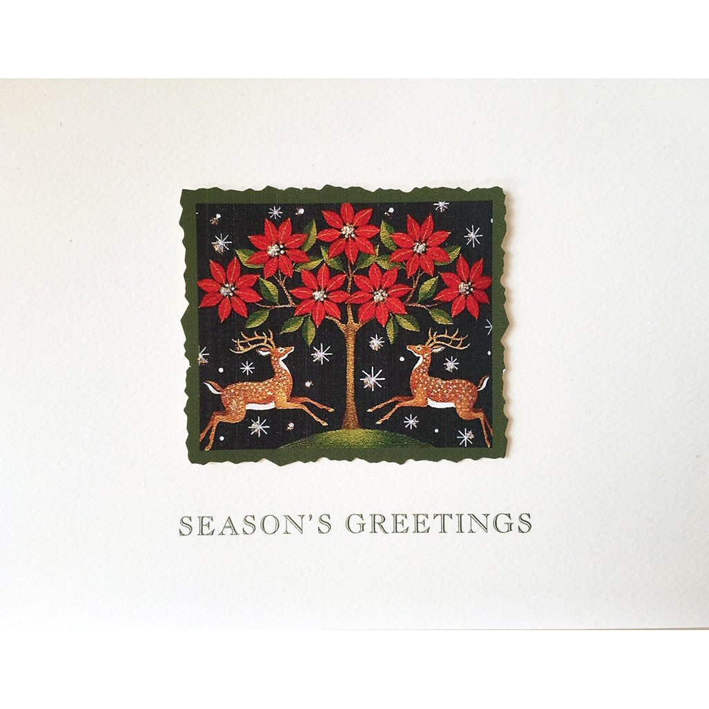 Greeting Card Poinsettia Deers - Lumia Designs