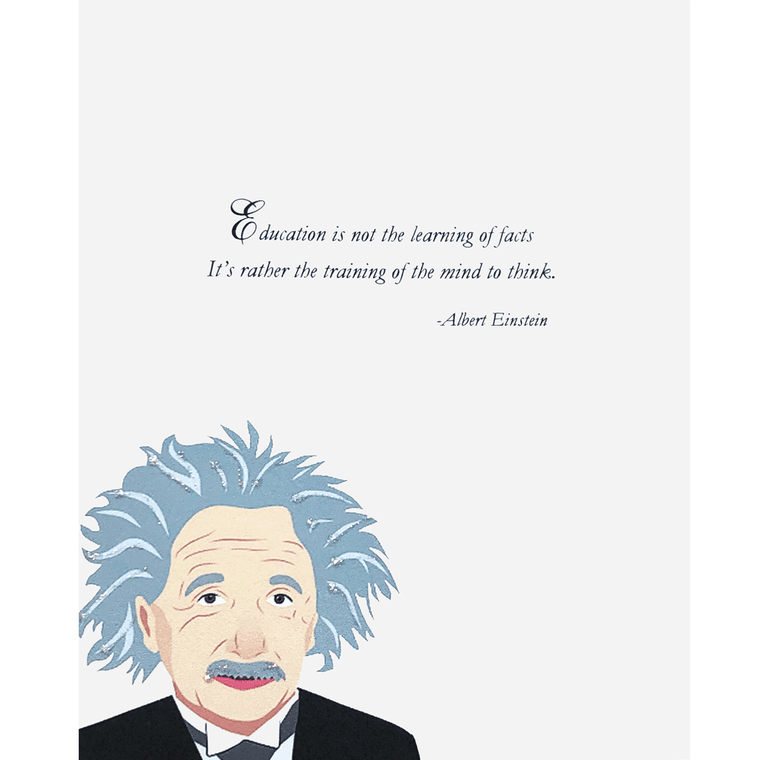 Greeting Card with portrait of Einstein and quote. Hand glittered, made in USA