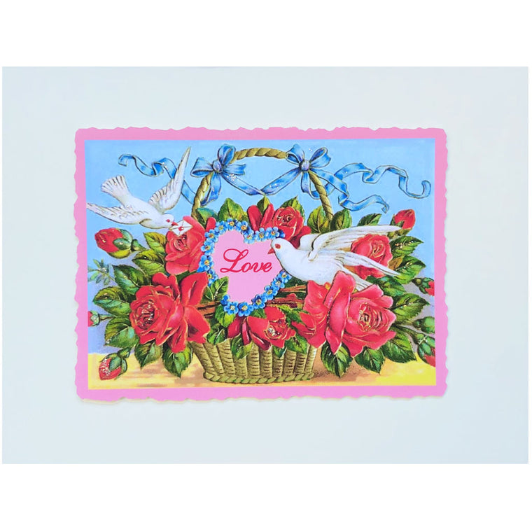 Doves With Flower Basket Love Card