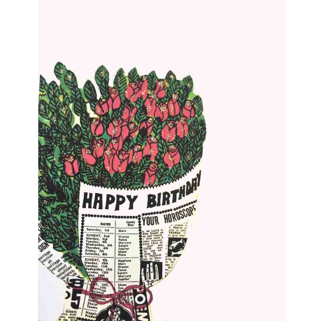 Newspaper Roses Birthday Card-Lumia Designs