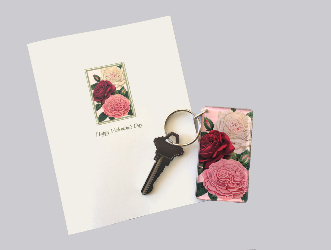 Roses Valentine's Card & Key Set
