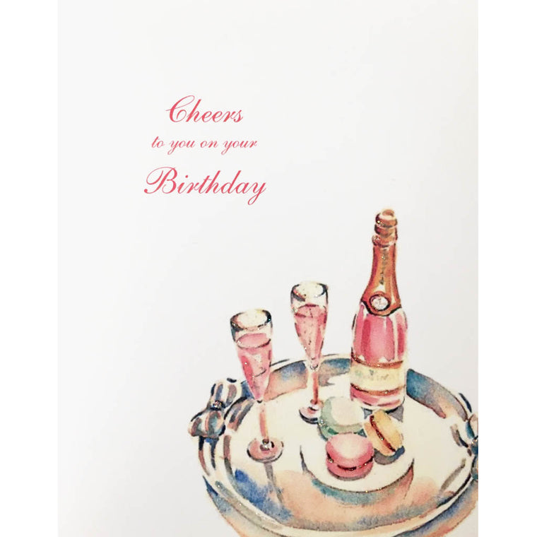 Pink Champagne Birthday Card - Lumia Designs
